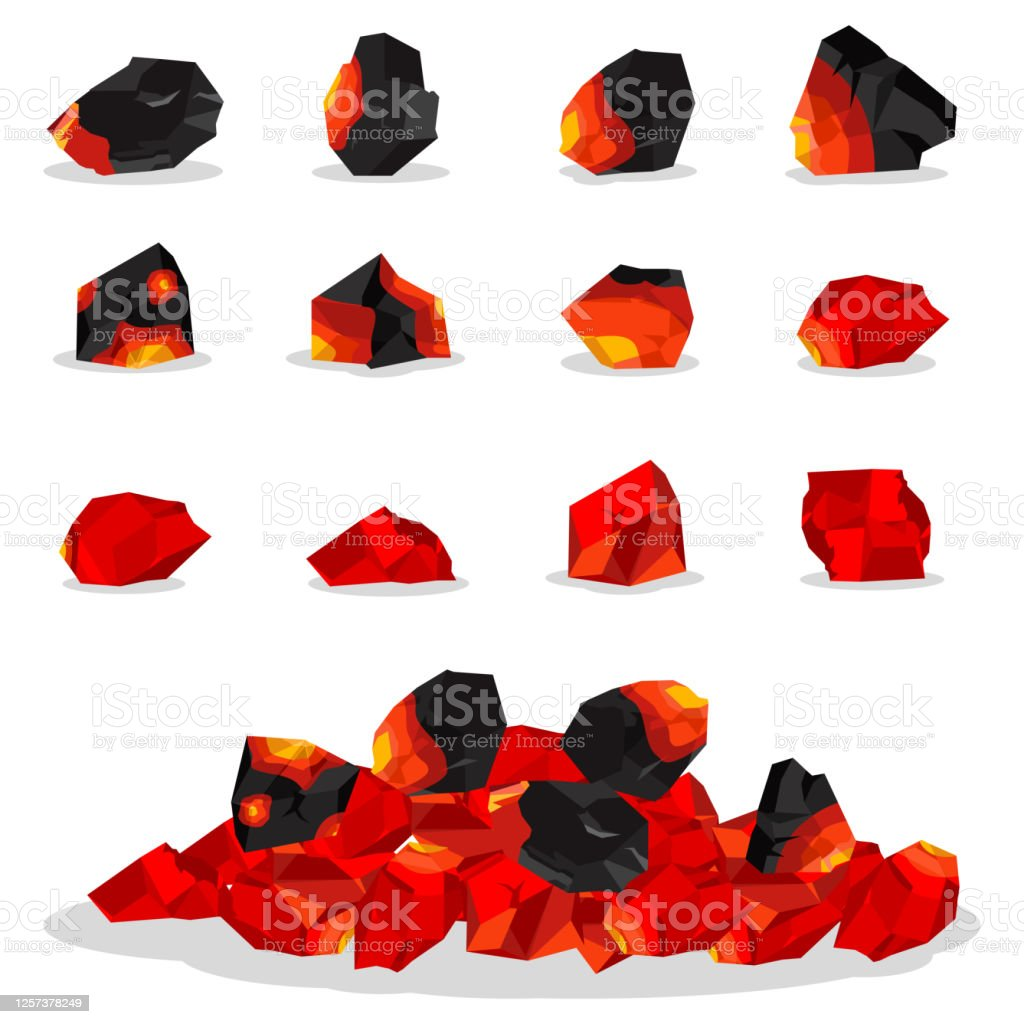 Burning charcoal for grill and barbecue. Vector flat set of smoldering coal briquettes isolated on white background. - Royalty-free Abstrato arte vetorial