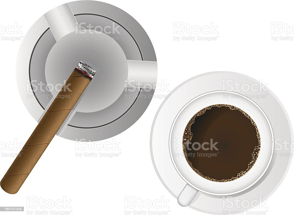 burning cigar in an ashtray and coffee vector illustration royalty-free stock vector art