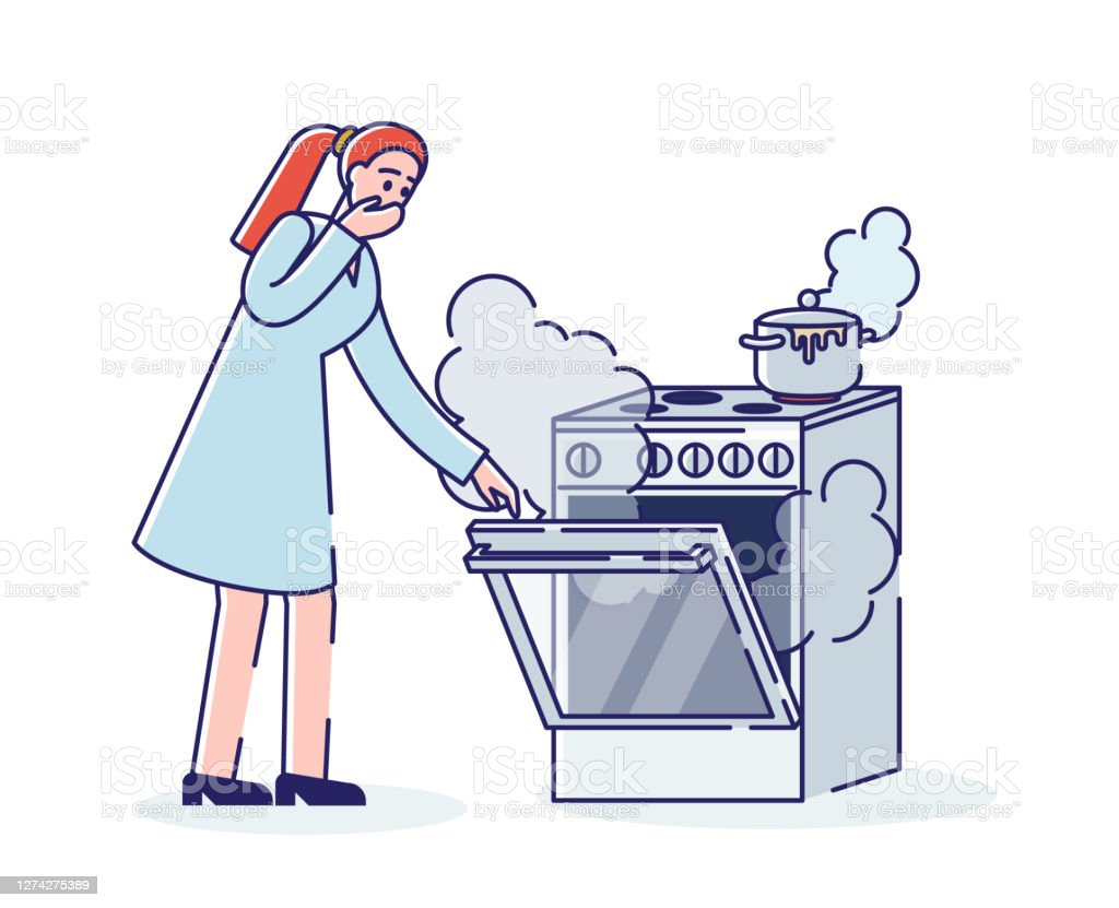 Burning cooking stove. Young woman and oven in smoke and fire while cooking - Royalty-free Acidente - Evento Relacionado com o Transporte arte vetorial
