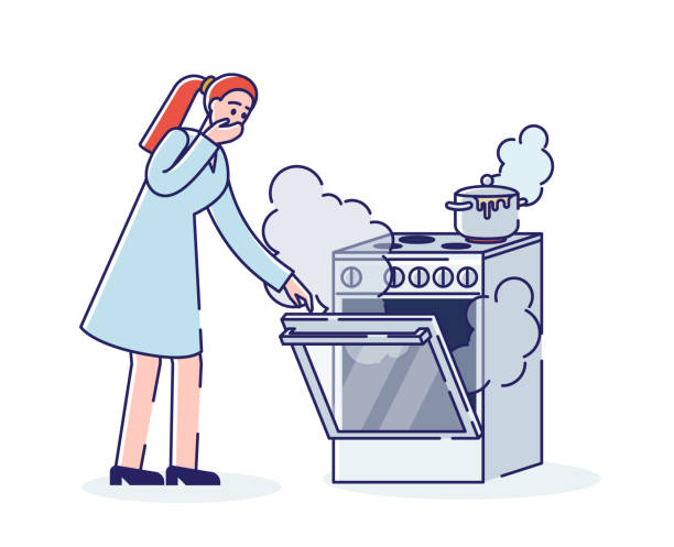 ilustrações de stock, clip art, desenhos animados e ícones de burning cooking stove. young woman and oven in smoke and fire while cooking - burned oven