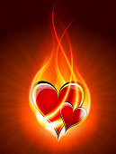 Burning couple of hearts isolated on red background with a space for your text. EPS 10 vector illustration, contains transparencies. High resolution jpeg file included(300dpi).