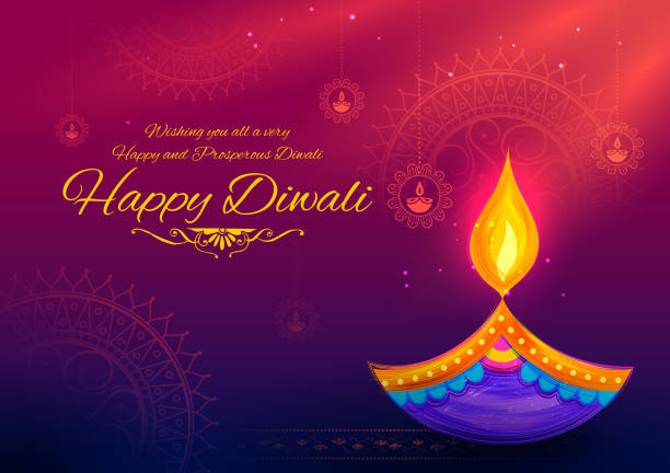 burning diya on happy diwali holiday background for light festival of india - diwali stock illustrations, clip art, cartoons, & icons
