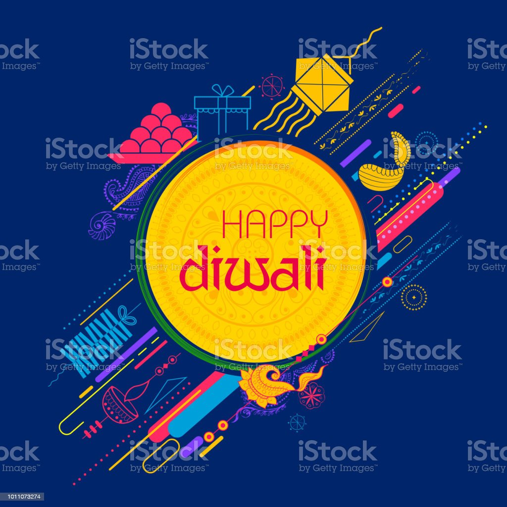 Burning diya on Happy Diwali Holiday background for light festival of India vector art illustration