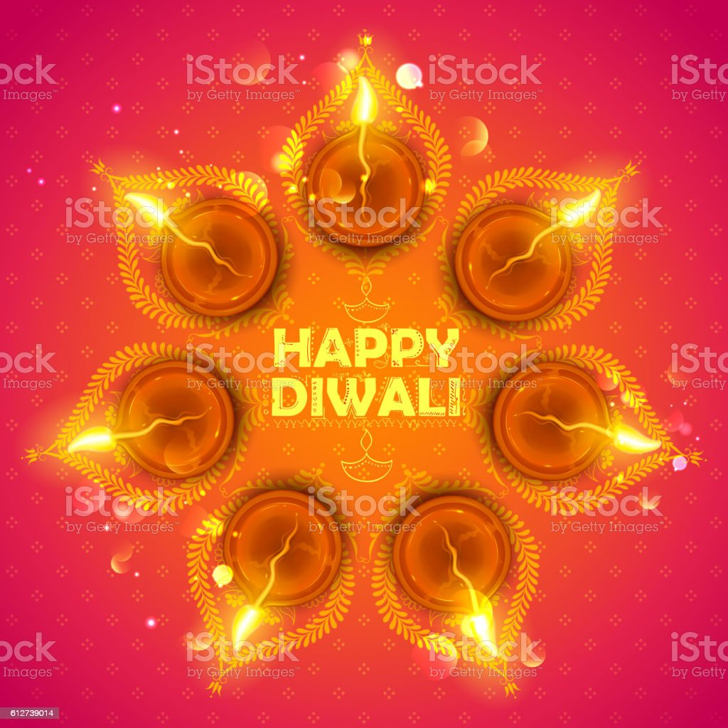Burning diya on happy Diwali Holiday background for light festival