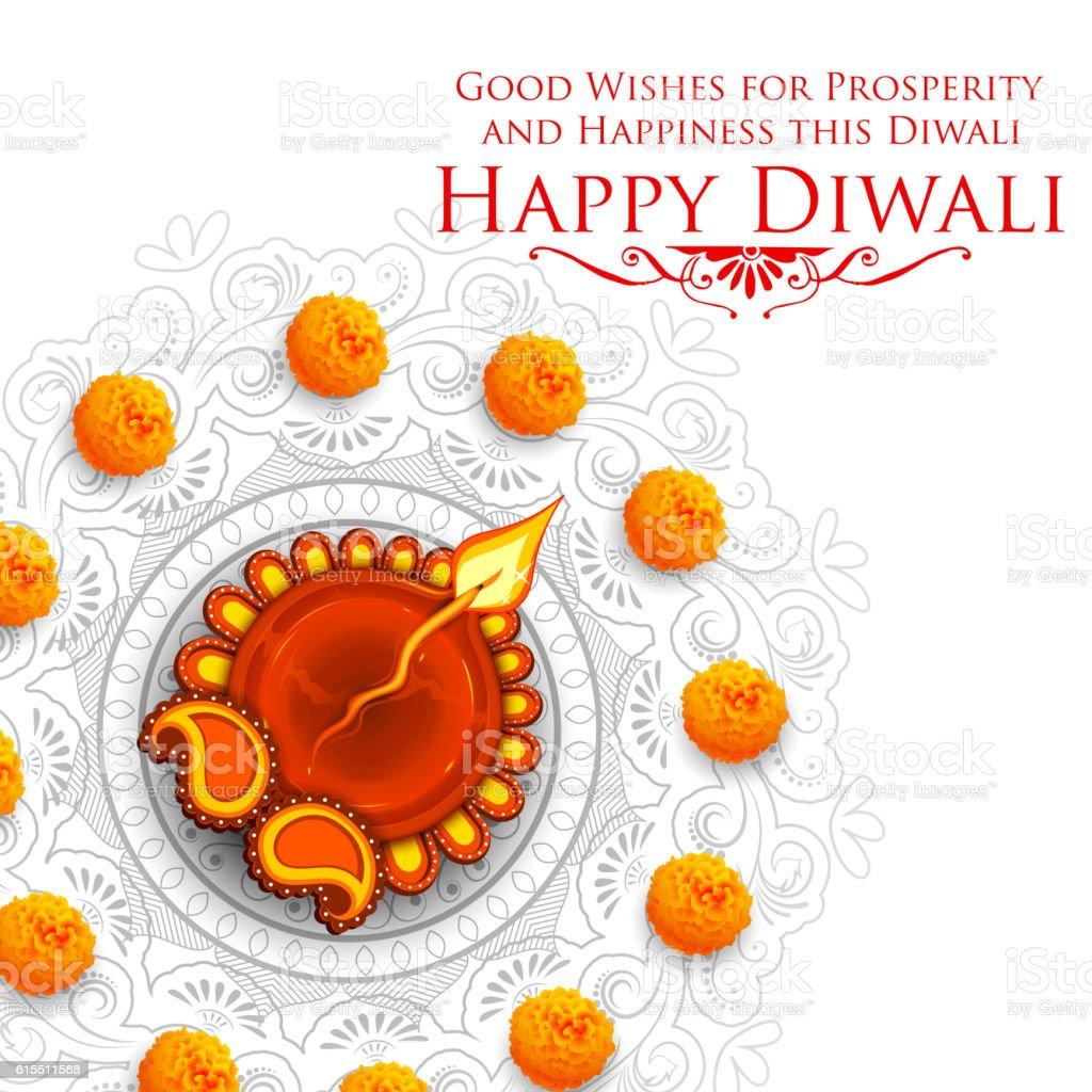 Burning diya on Happy Diwali Holiday background for light festival - Illustration vectorielle