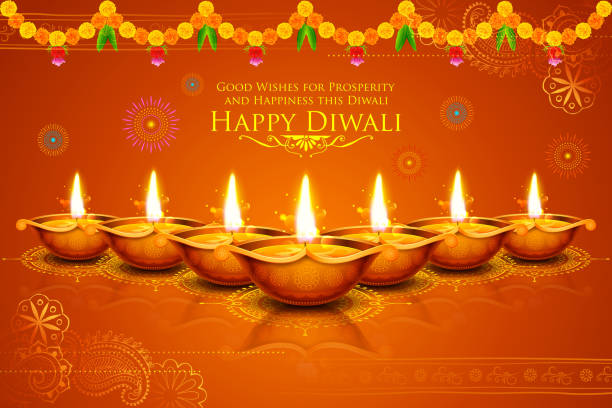 ilustraciones, imágenes clip art, dibujos animados e iconos de stock de burning diya on happy diwali holiday background for light festival - diwali