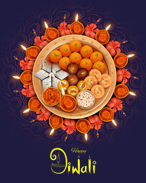 illustrazioni stock, clip art, cartoni animati e icone di tendenza di burning diya with assorted sweet and snack on happy diwali holiday background for light festival of india - dolci