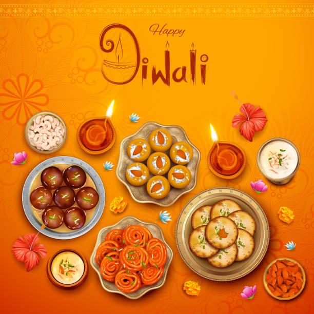 ilustraciones, imágenes clip art, dibujos animados e iconos de stock de quema de diya con dulces surtidos y snacks sobre fondo de felices vacaciones de diwali festival ligero de la india - comida india