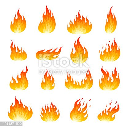 Burning fire set. Collection of blazing flames isolated on white background. Bundle of symbols of heat, passion, danger, power, energy, Natural decoration. Flat cartoon colorful vector illustration.