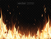 istock Burning fire.The effect of transparency. Highly realistic illustration. 1206836406