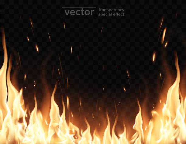 Burning fire.The effect of transparency. Highly realistic illustration. Tongues of flame, sparks, transparent smoke on a checkered background. Very realistic illustration. flame stock illustrations