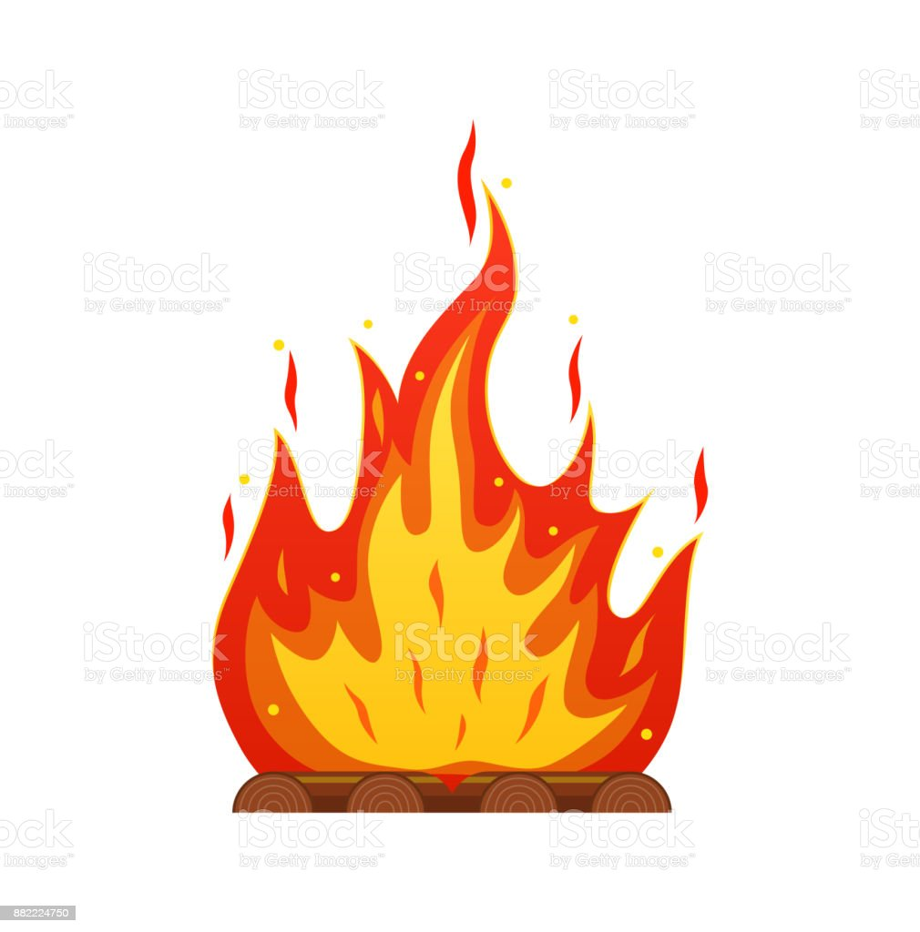 Burning firewood in fire. Camping and tourism, outdoor activities, cooking vector art illustration