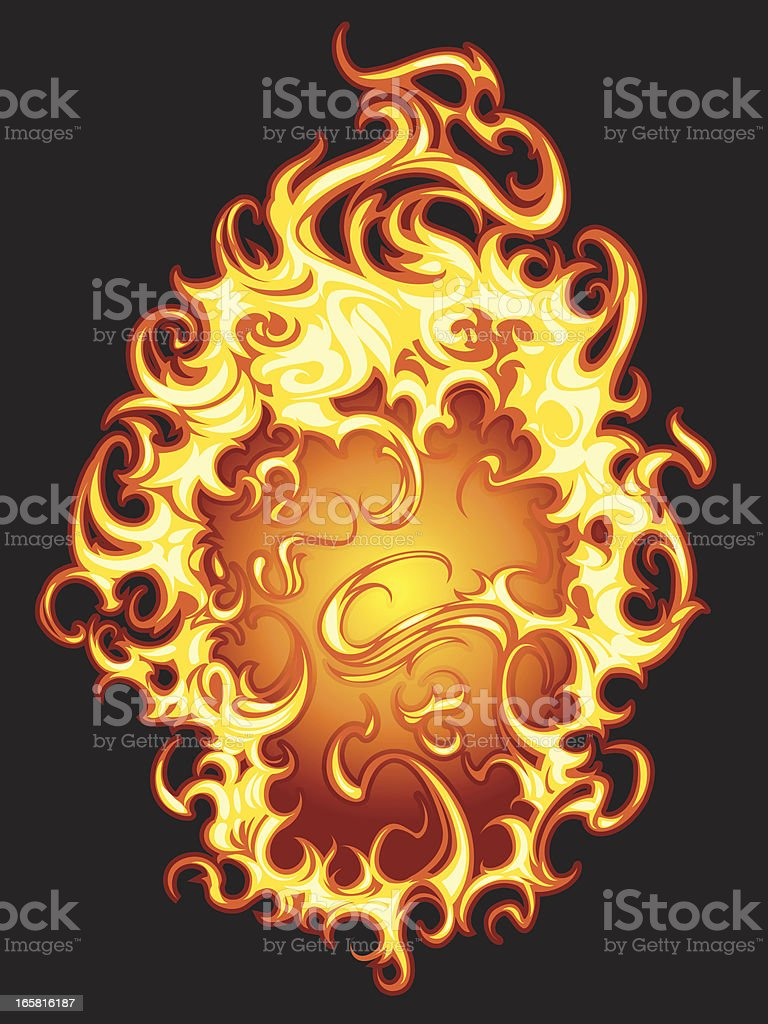 burning flames vector art illustration