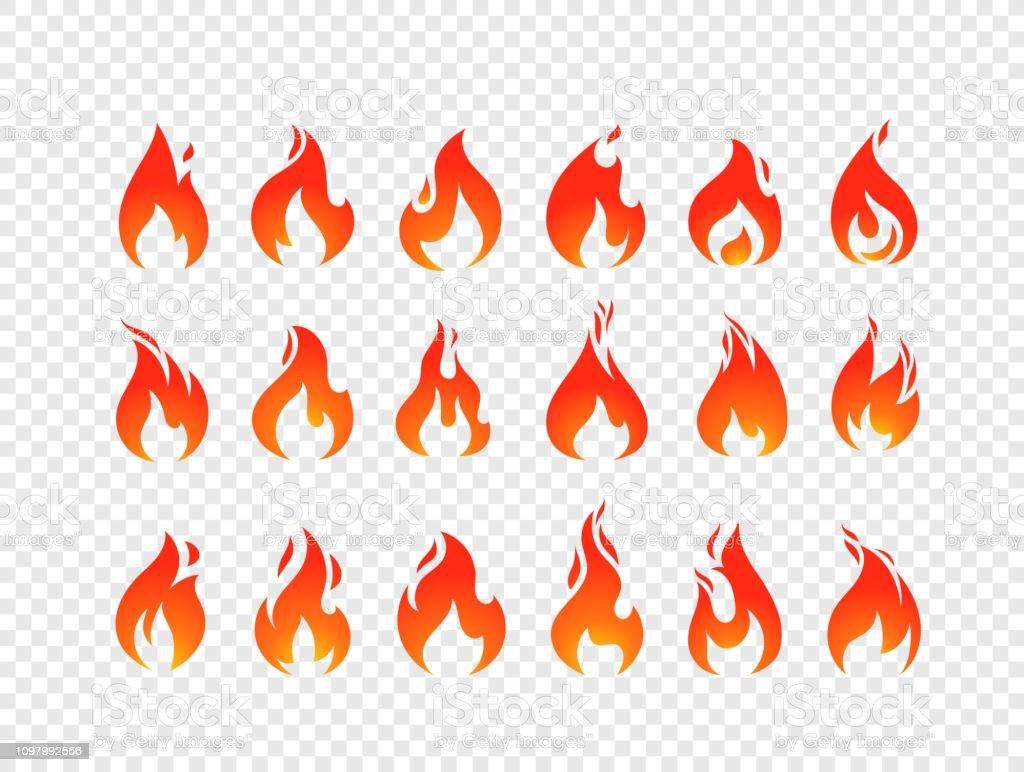 Vecteur de flammes de combustion la valeur isolée sur fond transparent - clipart vectoriel de Application mobile libre de droits