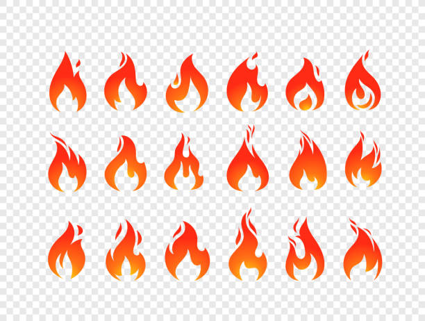 brennenden flammen vektor festlegen isolierten auf transparenten hintergrund - feuer stock-grafiken, -clipart, -cartoons und -symbole