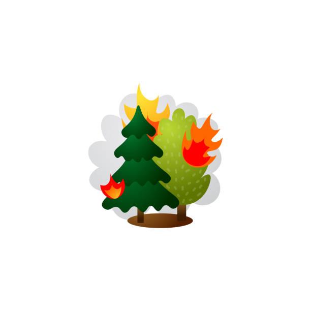 bildbanksillustrationer, clip art samt tecknat material och ikoner med brinnande skogsträd i lågor. raster illustration i platt tecknad stil - skog brand