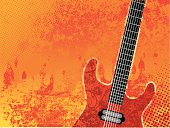 Guitar on grunge fire background.