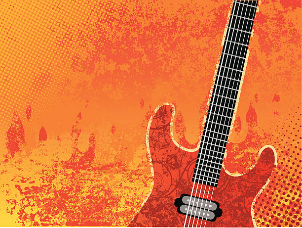 Burning guitar Guitar on grunge fire background. rock music stock illustrations