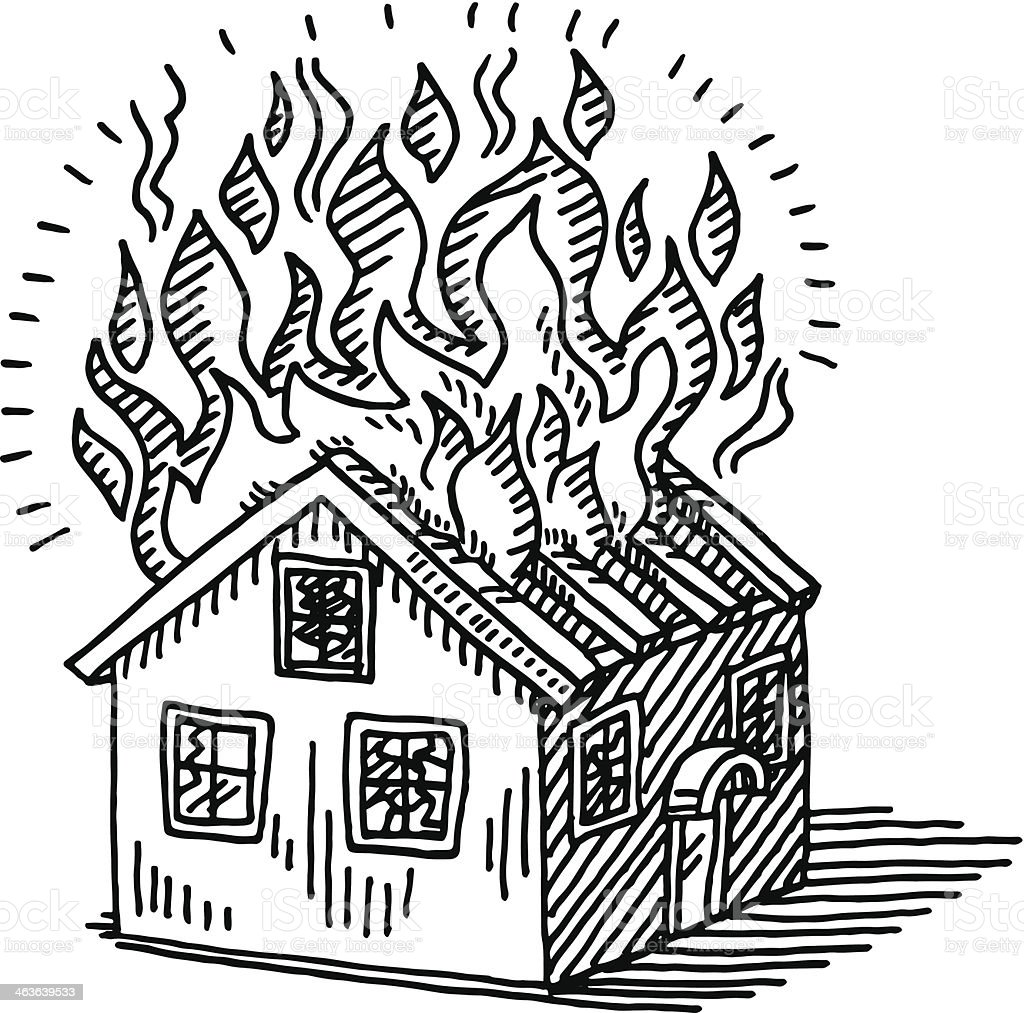 Burning House Disaster Drawing Stock Vector Art Amp More