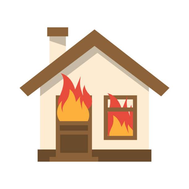 bildbanksillustrationer, clip art samt tecknat material och ikoner med brinnande hussymbol. flamma i hem. - house after fire