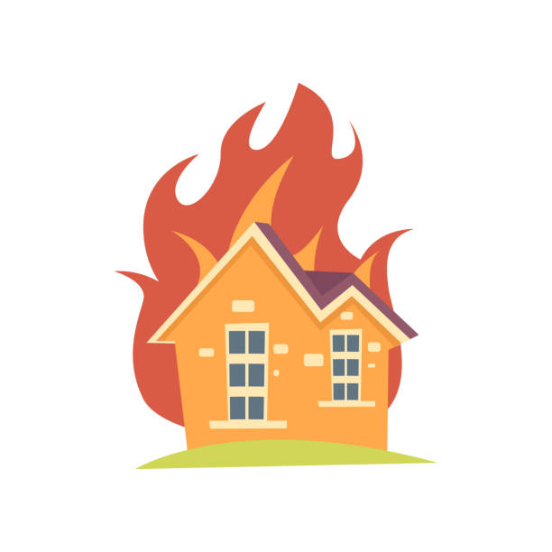 ilustrações de stock, clip art, desenhos animados e ícones de burning house with fire outside the walls isolated on white background - inflamável