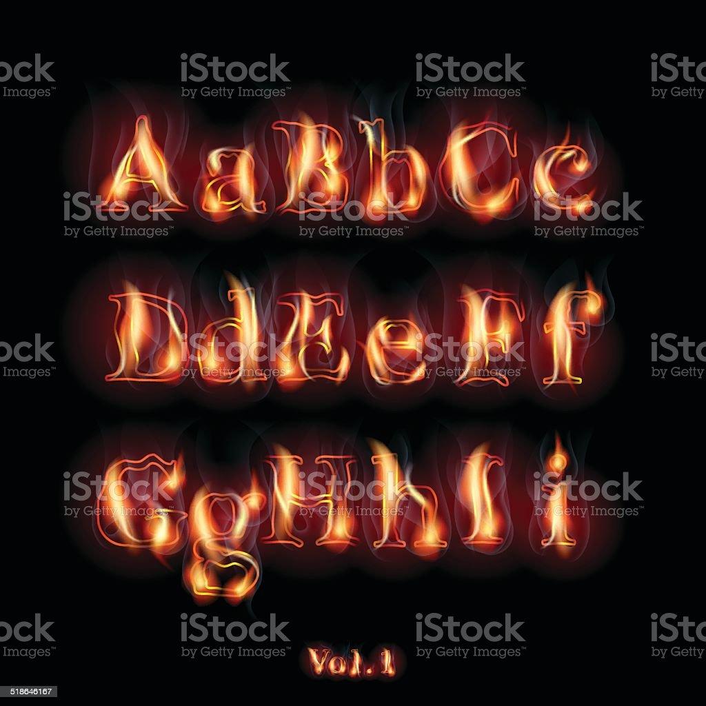 Burning Letters vector art illustration