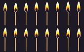 Burning match animation sprite on dark background