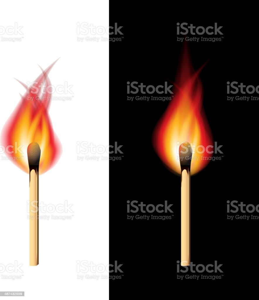 Burning match black and white background vector vector art illustration