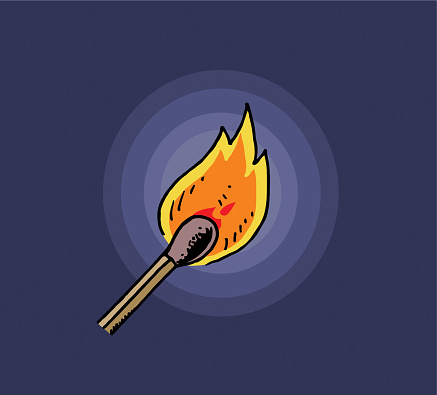 Burning match illustration