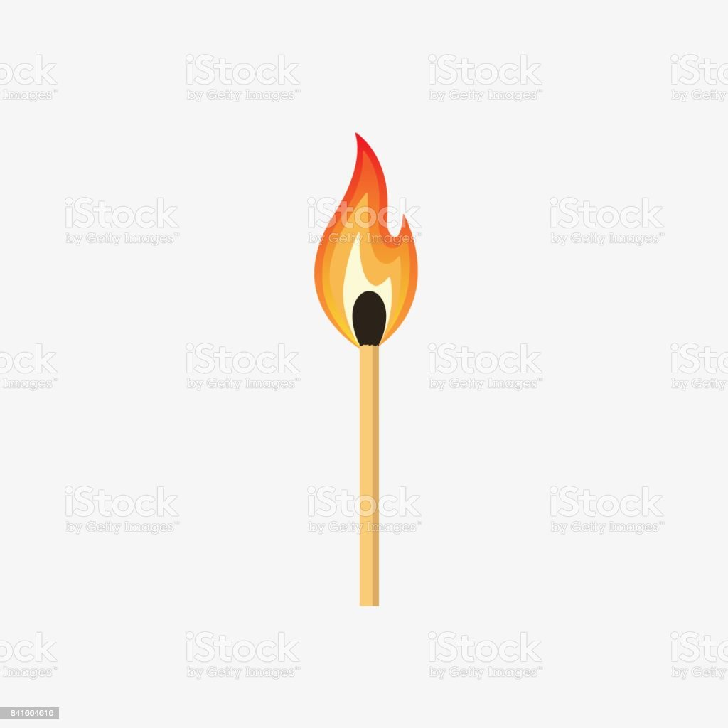 Burning Match Stick Illustration vector art illustration