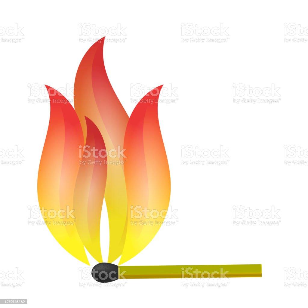 Burning Match with Fire Flame - ilustração de arte vetorial