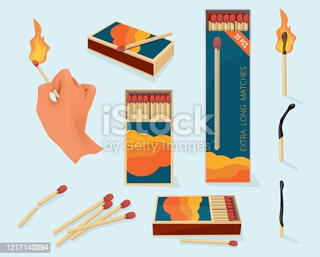 Burning matches. Safety packages for matchstick wooden stick flame symbols vector illustration in cartoon style. Safety danger fire, flame stick box