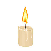 Burning melting wax candle isolated on a white background. Vector illustration in cartoon simple flat style.