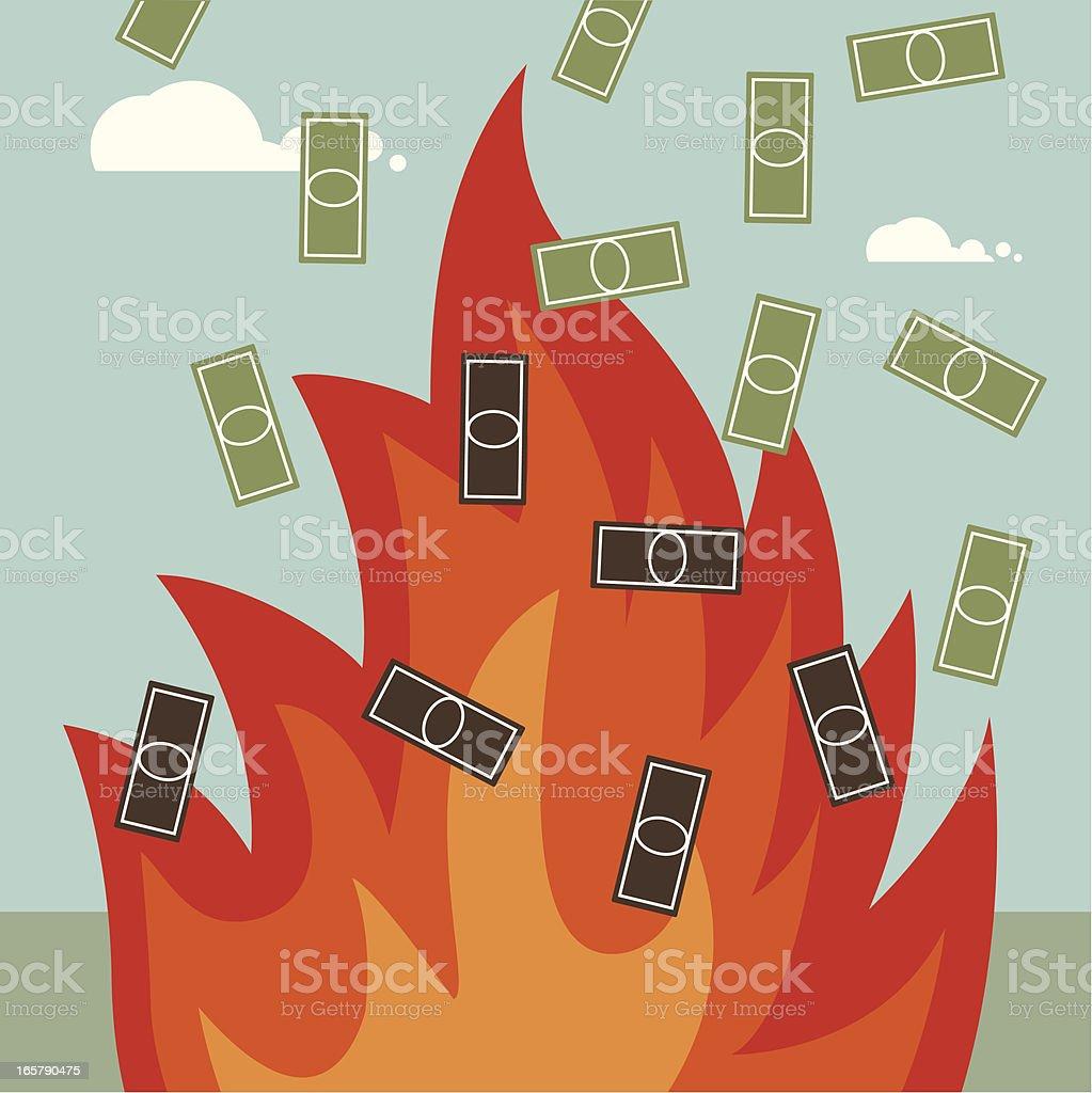Burning money vector art illustration