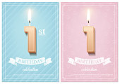 Burning number 10 birthday candles with vintage ribbon and birthday celebration text on textured blue and pink backgrounds in postcard format. Vector vertical birthday invitation templates for boys and girls.