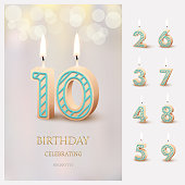 Burning number 10 birthday candles with birthday celebration text on light blurred background and burning birthday candle set for other dates. Vector birthday invitation template