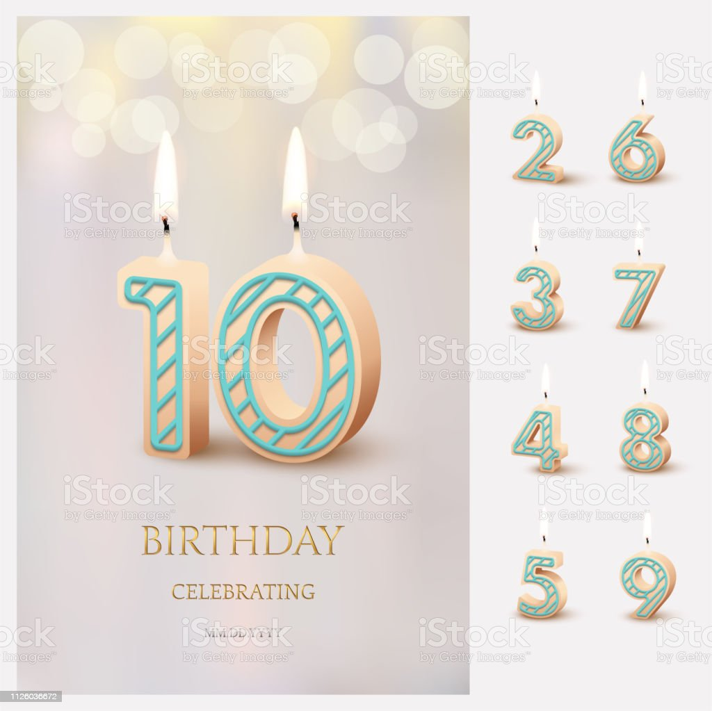 Burning number 10 birthday candles with birthday celebration text on light blurred background and burning birthday candle set for other dates. Vector vertical birthday invitation template. vector art illustration