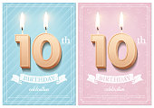 Burning number 10 birthday candle with birthday celebration text on light blurred background and burning birthday candle set for other dates. Vector vertical birthday invitation template