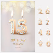 Burning number 15 birthday candles with birthday celebration text on light blurred background and burning birthday candle set for other dates. Vector vertical birthday invitation template