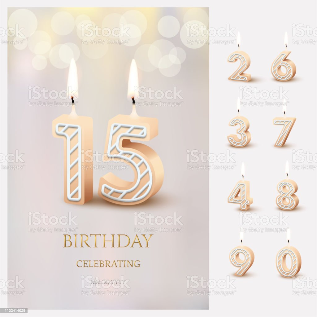Burning number 15 birthday candles with birthday celebration text on light blurred background and burning birthday candle set for other dates. Vector vertical birthday invitation template. vector art illustration