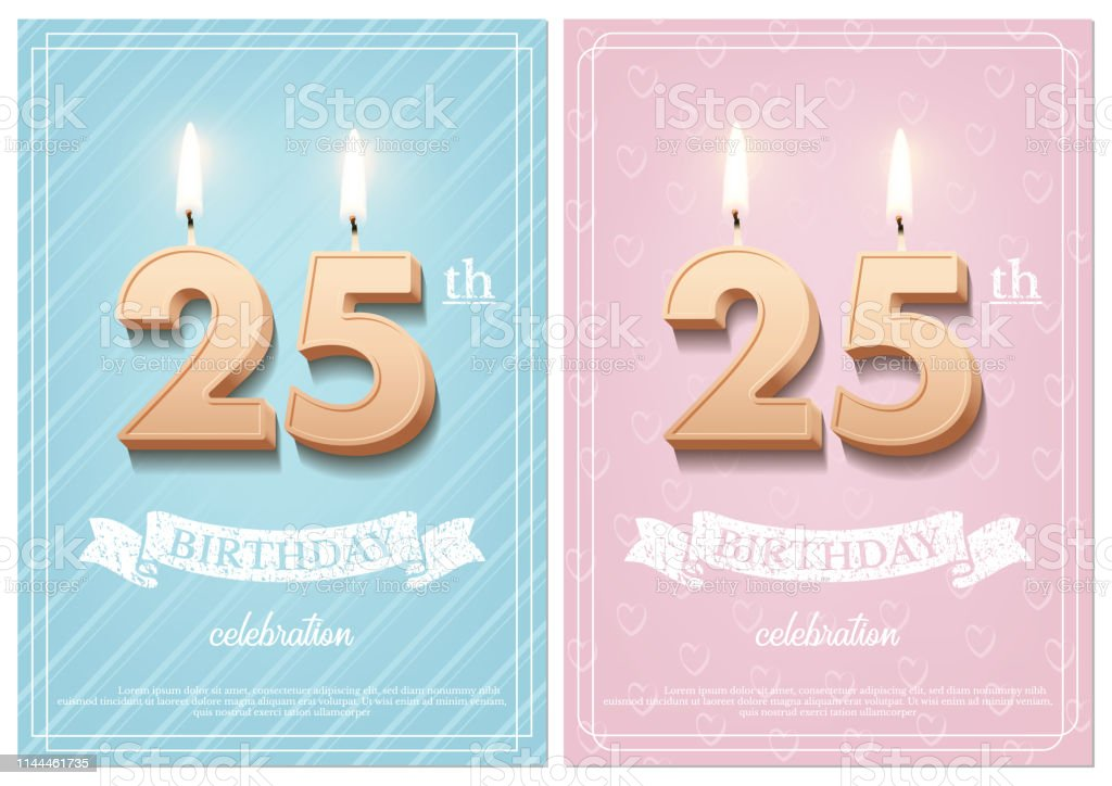 Burning number 25 birthday candles with vintage ribbon and birthday...