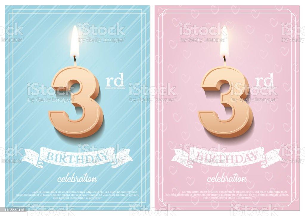 Brennende Zahl 3 Geburtstag Kerze Mit Vintage Band Und