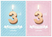 Burning number 3 birthday candle with vintage ribbon and birthday celebration text on textured blue and pink backgrounds in postcard format. Vector vertical third birthday invitation templates