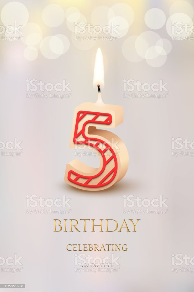 Burning Number 5 Birthday Candle With Celebration Text On Light Blurred Background Vector Fifth Invitation Template