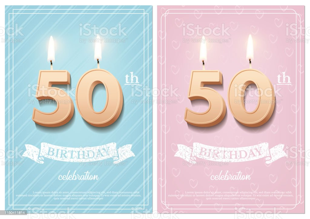 Burning Number 50 Birthday Candles With Vintage Ribbon And