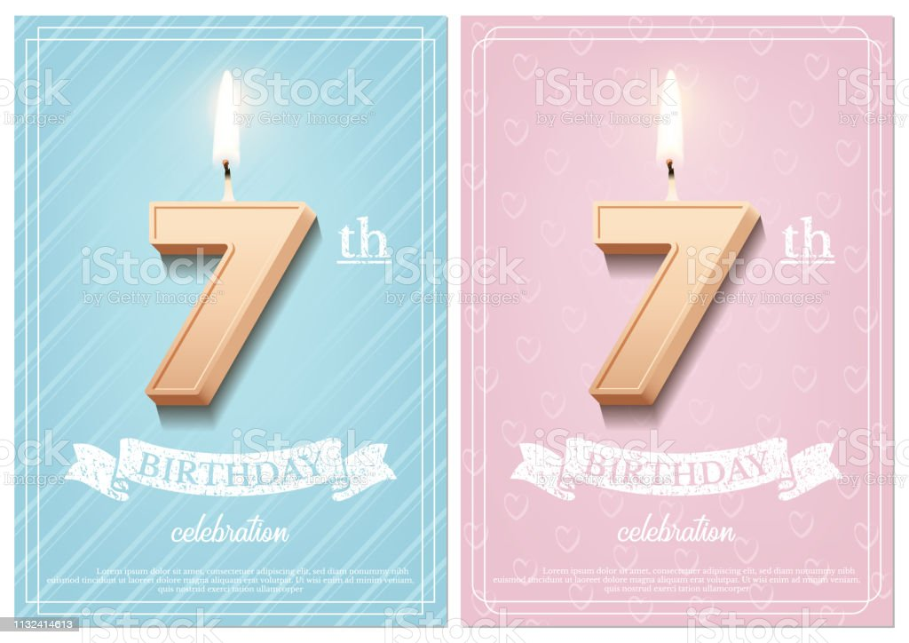 Burning number 7 birthday candle with vintage ribbon and birthday...
