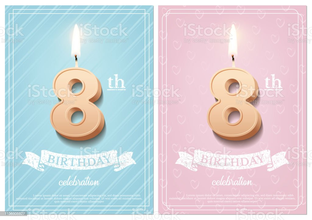 Burning number 8 birthday candle with vintage ribbon and birthday...