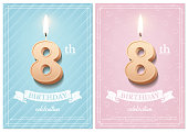 Burning number 8 birthday candle with vintage ribbon and birthday celebration text on textured blue and pink backgrounds in postcard format. Vector vertical eighth birthday invitation templates