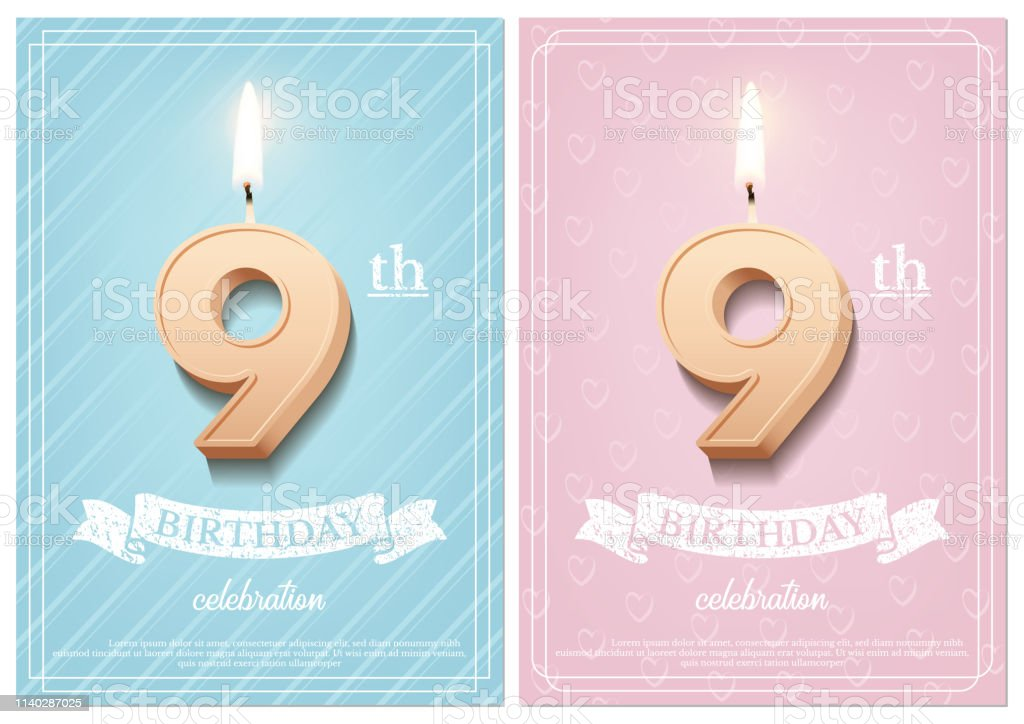 Burning number 9 birthday candle with vintage ribbon and birthday...