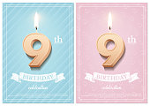 Burning number 9 birthday candle with vintage ribbon and birthday celebration text on textured blue and pink backgrounds in postcard format. Vector vertical ninth birthday invitation templates